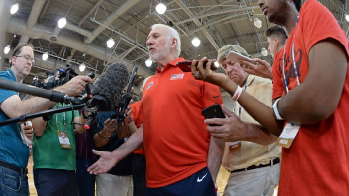 LAS VEGAS, NV - JULY 26: Gregg Popovich talks to the media after USAB Minicamp Practice at Mendenhall Center on the University of Nevada, Las Vegas campus on July 26, 2018 in Las Vegas, Nevada. NOTE TO USER: User expressly acknowledges and agrees that, by downloading and/or using this Photograph, user is consenting to the terms and conditions of the Getty Images License Agreement. Mandatory Copyright Notice: Copyright 2018 NBAE (Photo by Andrew D. Bernstein/NBAE via Getty Images)