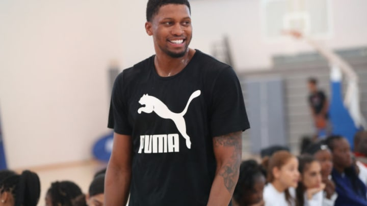 JOHANNESBURG, SOUTH AFRICA - AUGUST 2: Rudy Gay of Team World smiles at the Basketball Without Boarders Africa program at the American International School of Johannesburg on August 2, 2018 in Gauteng province of Johannesburg, South Africa. NOTE TO USER: User expressly acknowledges and agrees that, by downloading and or using this photograph, User is consenting to the terms and conditions of the Getty Images License Agreement. Mandatory Copyright Notice: Copyright 2018 NBAE (Photo by Joe Murphy/NBAE via Getty Images)