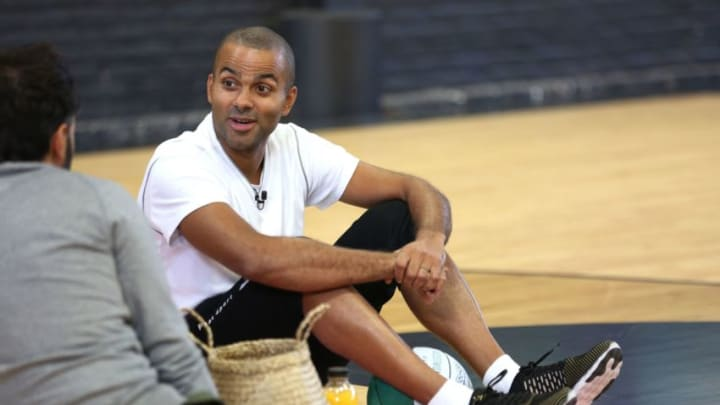 French professional Basketball star Tony Parker, who plays for the Charlotte Hornets in the NBA, takes a break during a childrens basketball clinic at the Hoops Factory courts in Aubervilliers, a suburb of Paris on September 8, 2018. (Photo by Zakaria ABDELKAFI / AFP) (Photo credit should read ZAKARIA ABDELKAFI/AFP/Getty Images)