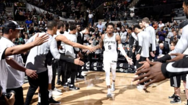 SAN ANTONIO, TX – SEPTEMBER 30: Dejounte Murray #5 of the San Antonio Spurs gets introduced before the game against the Miami Heat on September 30, 2018 at the AT&T Center in San Antonio, Texas. NOTE TO USER: User expressly acknowledges and agrees that, by downloading and/or using this Photograph, user is consenting to the terms and conditions of the Getty Images License Agreement. Mandatory Copyright Notice: Copyright 2018 NBAE (Photo by Bill Baptist/NBAE via Getty Images)