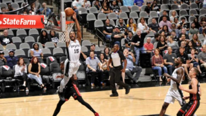 SAN ANTONIO, TX – SEPTEMBER 30: Jaron Blossomgame #15 of the San Antonio Spurs shoots the ball against the Miami Heat during a pre-season game on September 30, 2018 at the AT&T Center in San Antonio, Texas. NOTE TO USER: User expressly acknowledges and agrees that, by downloading and/or using this Photograph, user is consenting to the terms and conditions of the Getty Images License Agreement. Mandatory Copyright Notice: Copyright 2018 NBAE (Photo by Bill Baptist/NBAE via Getty Images)