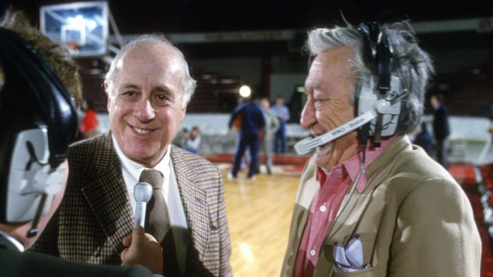 BOSTON, MA – CIRCA 1983: President and Vice Chairman Red Auerbach of the Boston Celtic talks with the media before an NBA basketball game circa 1983 at Northeastern University (Photo by Focus on Sport/Getty Images)