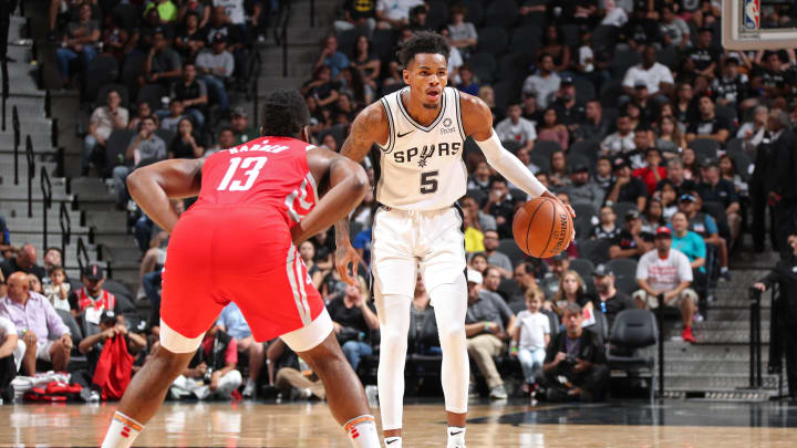Dejounte Murray of the San Antonio Spurs is guarded by Houston's James Harden (Photo by Nathaniel S. Butler/NBAE via Getty Images)