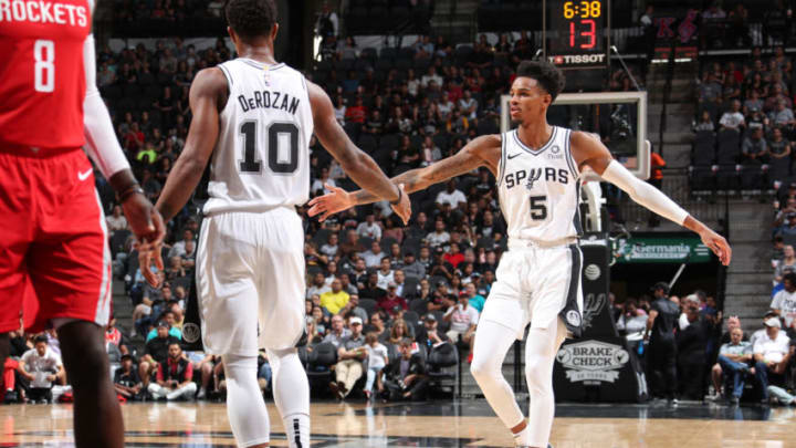 Dejounte Murray and DeMar DeRozan (Photo by Nathaniel S. Butler/NBAE via Getty Images)