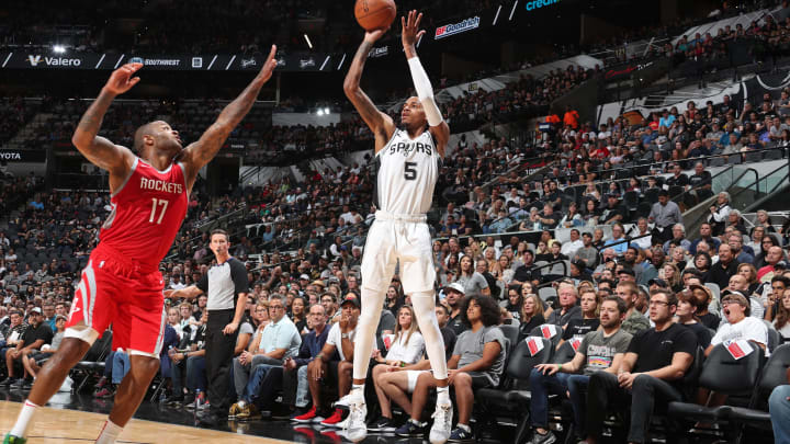 SAN ANTONIO, TX – OCTOBER 7: Dejounte Murray #5 of the San Antonio Spurs shoots the ball against the Houston Rockets on October 7, 2018 at AT&T Center, in San Antonio, Texas. (Photo by Nathaniel S. Butler/NBAE via Getty Images)