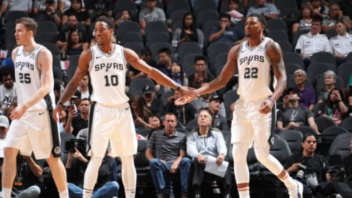 SAN ANTONIO, TX – OCTOBER 7: DeMar DeRozan #10 and Rudy Gay #22 of the San Antonio Spurs exchange high fives (Photo by Nathaniel S. Butler/NBAE via Getty Images)