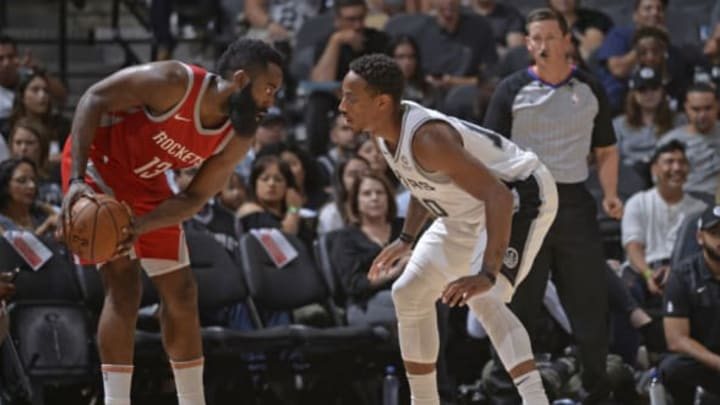 San Antonio Spurs shooting guard DeMar DeRozan and Houston's James Harden (Photos by Mark Sobhani/NBAE via Getty Images)