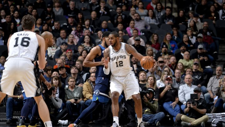 SAN ANTONIO, TX – OCTOBER 17: LaMarcus Aldridge #12 of the San Antonio Spurs handles the ball against the Minnesota Timberwolves during a game on October 17, 2018 at the AT&T Center in San Antonio, Texas. NOTE TO USER: User expressly acknowledges and agrees that, by downloading and or using this photograph, user is consenting to the terms and conditions of the Getty Images License Agreement. Mandatory Copyright Notice: Copyright 2018 NBAE (Photos by Mark Sobhani/NBAE via Getty Images)