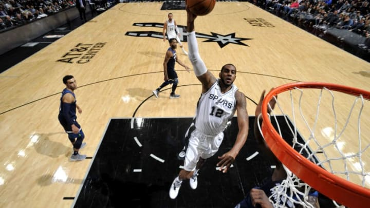 SAN ANTONIO, TX - OCTOBER 17: LaMarcus Aldridge #12 of the San Antonio Spurs shoots the ball against the Minnesota Timberwolves during a game on October 17, 2018 at the AT&T Center in San Antonio, Texas. NOTE TO USER: User expressly acknowledges and agrees that, by downloading and or using this photograph, user is consenting to the terms and conditions of the Getty Images License Agreement. Mandatory Copyright Notice: Copyright 2018 NBAE (Photos by Mark Sobhani/NBAE via Getty Images)