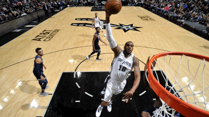 SAN ANTONIO, TX – OCTOBER 17: LaMarcus Aldridge #12 of the San Antonio Spurs shoots the ball against the Minnesota Timberwolves during a game on October 17, 2018 at the AT&T Center in San Antonio, Texas. NOTE TO USER: User expressly acknowledges and agrees that, by downloading and or using this photograph, user is consenting to the terms and conditions of the Getty Images License Agreement. Mandatory Copyright Notice: Copyright 2018 NBAE (Photos by Mark Sobhani/NBAE via Getty Images)