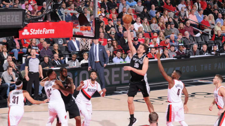 Pau Gasol of the San Antonio Spurs shoots the ball against the Portland Trail Blazers (Photo by Sam Forencich/NBAE via Getty Images)