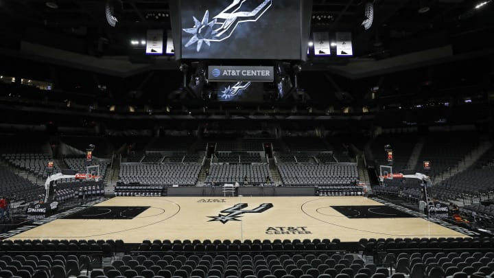 A view of center-court at AT&T Center, the arena that's been home to theSan Antonio Spurs since the 2002-2003 season, which culminated in an NBA championship victory. (Photo by Edward A. Ornelas/Getty Images)