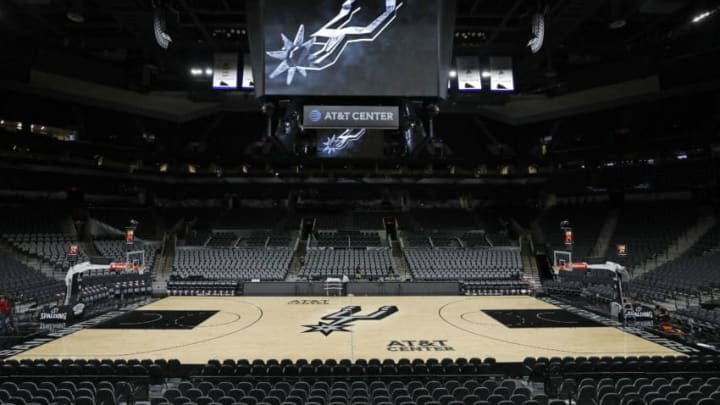 SAN ANTONIO, TX - OCTOBER 24: A view of the San Antonio Spurs court in the AT&T Center before a game against the Indiana Pacers on October 24, 2018 in San Antonio, Texas. NOTE TO USER: User expressly acknowledges and agrees that, by downloading and or using this photograph, User is consenting to the terms and conditions of the Getty Images License Agreement. (Photo by Edward A. Ornelas/Getty Images)