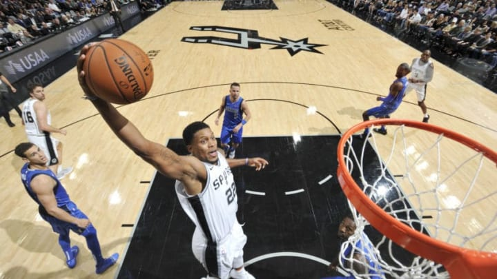 SAN ANTONIO, TX - OCTOBER 29: Rudy Gay #22 of the San Antonio Spurs dunks the ball against the Dallas Mavericks on October 29, 2018 at the AT&T Center in San Antonio, Texas. NOTE TO USER: User expressly acknowledges and agrees that, by downloading and or using this photograph, user is consenting to the terms and conditions of the Getty Images License Agreement. Mandatory Copyright Notice: Copyright 2018 NBAE (Photos by Mark Sobhani/NBAE via Getty Images)