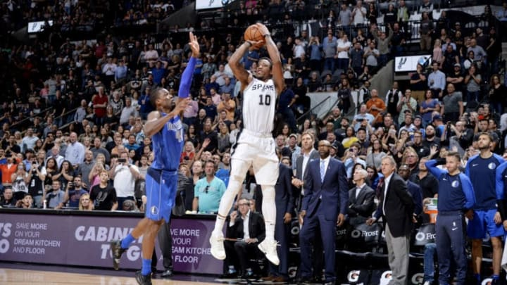 SAN ANTONIO, TX - OCTOBER 29: DeMar DeRozan #10 of the San Antonio Spurs shoots the ball against the Dallas Mavericks on October 29, 2018 at the AT&T Center in San Antonio, Texas. NOTE TO USER: User expressly acknowledges and agrees that, by downloading and or using this photograph, user is consenting to the terms and conditions of the Getty Images License Agreement. Mandatory Copyright Notice: Copyright 2018 NBAE (Photos by Mark Sobhani/NBAE via Getty Images)