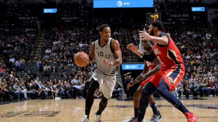 SAN ANTONIO, TX - NOVEMBER 3: DeMar DeRozan #10 of the San Antonio Spurs handles the ball against the New Orleans Pelicans on November 3, 2018 at the AT&T Center in San Antonio, Texas. NOTE TO USER: User expressly acknowledges and agrees that, by downloading and or using this photograph, user is consenting to the terms and conditions of the Getty Images License Agreement. Mandatory Copyright Notice: Copyright 2018 NBAE (Photos by Mark Sobhani/NBAE via Getty Images)