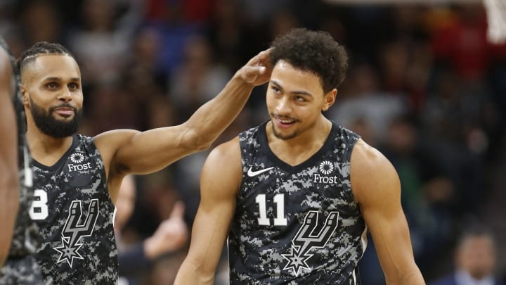 SAN ANTONIO,TX – NOVEMBER 10: Patty Mills #8 of the San Antonio Spurs congratulates Bryn Forbes #11 of the San Antonio Spurs after hitting a three against the Houston Rockets at AT&T Center on November 10 , 2018 in San Antonio, Texas. (Photo by Ronald Cortes/Getty Images)