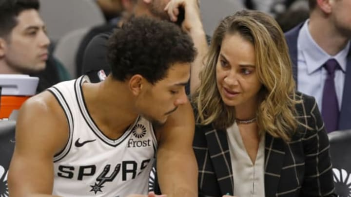SAN ANTONIO, TX – OCTOBER 24: Bryn Forbes #11 of the San Antonio Spurs talks with San Antonio Spurs assistant coach Becky Hammon (Photo by Edward A. Ornelas/Getty Images)
