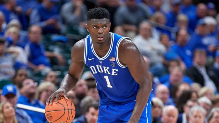 INDIANAPOLIS, IN - NOVEMBER 06: Duke Blue Devils forward Zion Williamson (1) dribbles the ball in action during a Champions Classic game between the Duke Blue Devils and the Kentucky Wildcats on November 6, 2018 at Bankers Life Fieldhouse in Indianpolis, Indiana. (Photo by Robin Alam/Icon Sportswire via Getty Images)