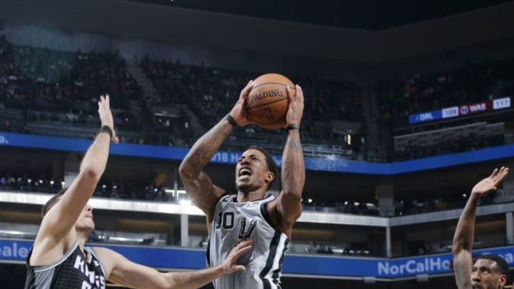 SACRAMENTO, CA - NOVEMBER 12: DeMar DeRozan #10 of the San Antonio Spurs shoots the ball against the Sacramento Kings on November 12, 2018 at Golden 1 Center in Sacramento, California. NOTE TO USER: User expressly acknowledges and agrees that, by downloading and or using this Photograph, user is consenting to the terms and conditions of the Getty Images License Agreement. Mandatory Copyright Notice: Copyright 2018 NBAE (Photo by Rocky Widner/NBAE via Getty Images)