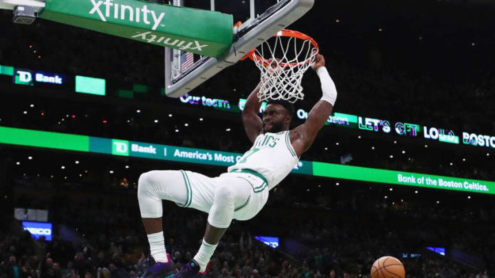 BOSTON, MA - NOVEMBER 14: Jaylen Brown #7 of the Boston Celtics dunks the ball at TD Garden on November 14, 2018. He'd make an excellent fit with the San Antonio Spurs in the future. (Photo by Tim Bradbury/Getty Images)