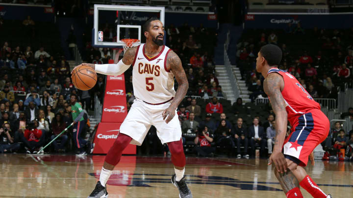 WASHINGTON, DC –NOVEMBER 14: Cleveland Cavaliers guard JR Smith #5 handles the ball against the Washington Wizards on November 14, 2018 at Capital One Arena in Washington, DC. (Photo by Stephen Gosling/NBAE via Getty Images)