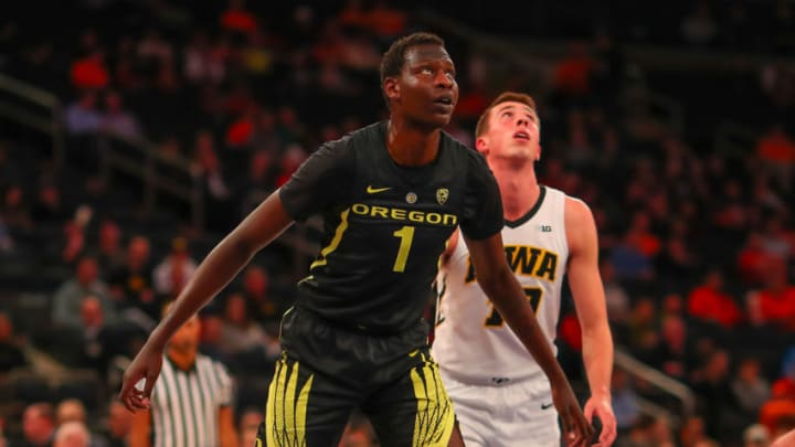NEW YORK, NY - NOVEMBER 15: Oregon Ducks center Bol Bol (1) during the first half of the College Basketball game between the Oregon Ducks and the Iowa Hawkeyes on November 15, 2018 at Madison Square Garden in New York City, NY. (Photo by Rich Graessle/Icon Sportswire via Getty Images)