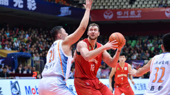 CHENGDU, CHINA - NOVEMBER 03: Donatas Motiejunas #12 of Shandong Hi-Speed Golden Stars controls the ball during the 2018/2019 Chinese Basketball Association (CBA) League seventh round match between Sichuan Jinqiang Blue Whales and Shandong Hi-Speed Golden Stars on November 3, 2018 in Chengdu, Sichuan Province of China. (Photo by VCG/VCG via Getty Images)