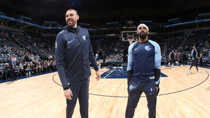 MINNEAPOLIS, MN – NOVEMBER 18: Marc Gasol #33 of the Memphis Grizzlie and Mike Conley #11 of the Memphis Grizzlies prior to the game against the Minnesota Timberwolves on November 18, 2018 at Target Center in Minneapolis, Minnesota. (Photo by David Sherman/NBAE via Getty Images)