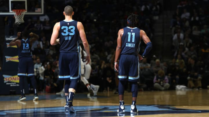 MEMPHIS, TN - NOVEMBER 16: Marc Gasol #33 and Mike Conley #11 of the Memphis Grizzlies looks on against the Sacramento Kings on November 16, 2018 at FedExForum in Memphis, Tennessee. NOTE TO USER: User expressly acknowledges and agrees that, by downloading and or using this photograph, User is consenting to the terms and conditions of the Getty Images License Agreement. Mandatory Copyright Notice: Copyright 2018 NBAE (Photo by Joe Murphy/NBAE via Getty Images)