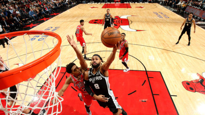 CHICAGO, IL - NOVEMBER 26: Patty Mills #8 of the San Antonio Spurs shoots the ball against the Chicago Bulls on November 26, 2018 at the United Center in Chicago, Illinois. NOTE TO USER: User expressly acknowledges and agrees that, by downloading and or using this photograph, user is consenting to the terms and conditions of the Getty Images License Agreement. Mandatory Copyright Notice: Copyright 2018 NBAE (Photo by Gary Dineen/NBAE via Getty Images)