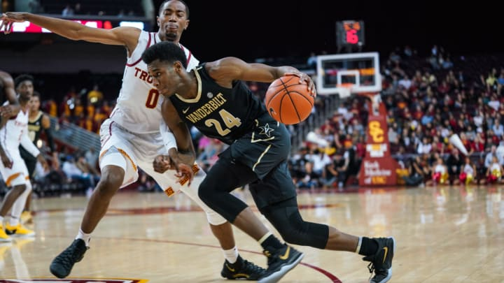 LOS ANGELES, CA – NOVEMBER 11: Aaron Nesmith #24 of the Vanderbilt Commodores handles the ball against Shaqquan Aaron #0 of the USC Trojans during a game at The Galen Center on November 11, 2018 in Los Angeles, California. (Photo by Cassy Athena/Getty Images)