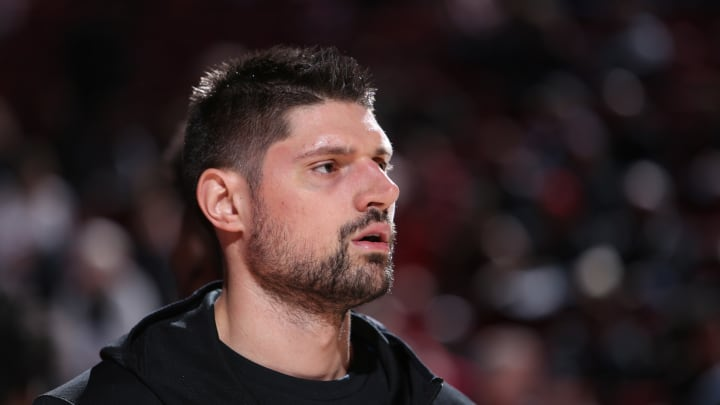 PORTLAND, OR – NOVEMBER 28: Nikola Vucevic #9 of the Orlando Magic warms up before the game against the Portland Trail Blazers (Photo by Sam Forencich/NBAE via Getty Images)