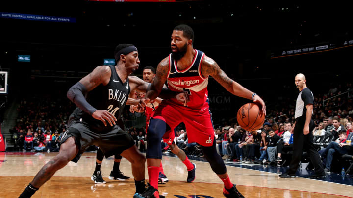 WASHINGTON, DC – DECEMBER 1: Markieff Morris #5 of the Washington Wizards handles the ball against the Brooklyn Nets on December 1, 2018 at Capital One Arena in Washington, DC. (Photo by Ned Dishman/NBAE via Getty Images)
