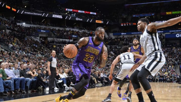 LeBron James of the Los Angeles Lakers handles the ball against the San Antonio Spurs. (Photos by Mark Sobhani/NBAE via Getty Images)