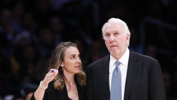 LOS ANGELES, CA – DECEMBER 05: Assistant Coach Becky Hammon is seen talking to Head Coach Gregg Popovich of the San Antonio Spurs during a game against the Los Angeles Lakers on December 05, 2018 at the Staples Center in Los Angeles, California. (Photo by Chris Elise/NBAE via Getty Images)