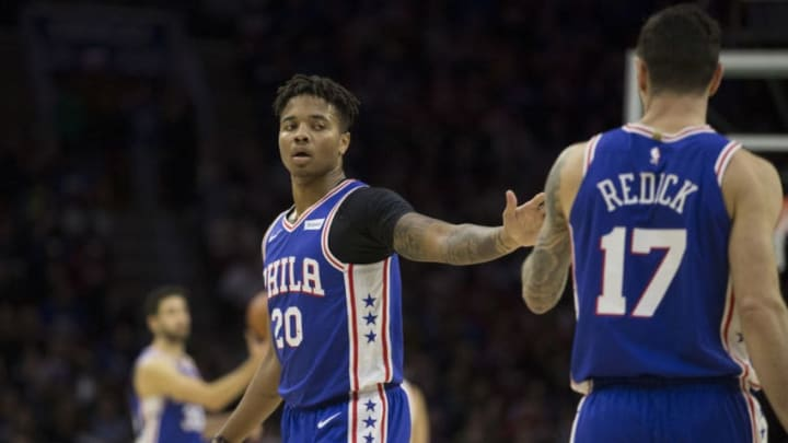 PHILADELPHIA, PA - NOVEMBER 19: Markelle Fultz #20 of the Philadelphia 76ers high fives JJ Redick #17 against the Phoenix Suns at the Wells Fargo Center on November 19, 2018 in Philadelphia, Pennsylvania. NOTE TO USER: User expressly acknowledges and agrees that, by downloading and or using this photograph, User is consenting to the terms and conditions of the Getty Images License Agreement. (Photo by Mitchell Leff/Getty Images)