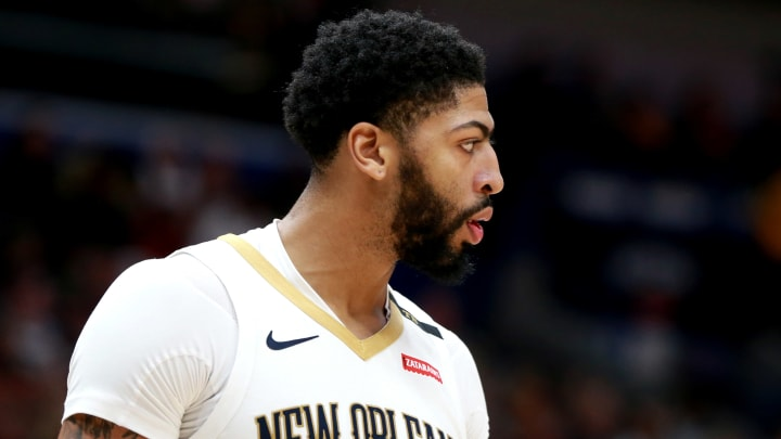 NEW ORLEANS, LOUISIANA – NOVEMBER 19: Anthony Davis #23 of the New Orleans Pelicans stands on the court during a game against the San Antonio Spurs at the Smoothie King Center on November 19, 2018 in New Orleans, Louisiana. (Photo by Sean Gardner/Getty Images)