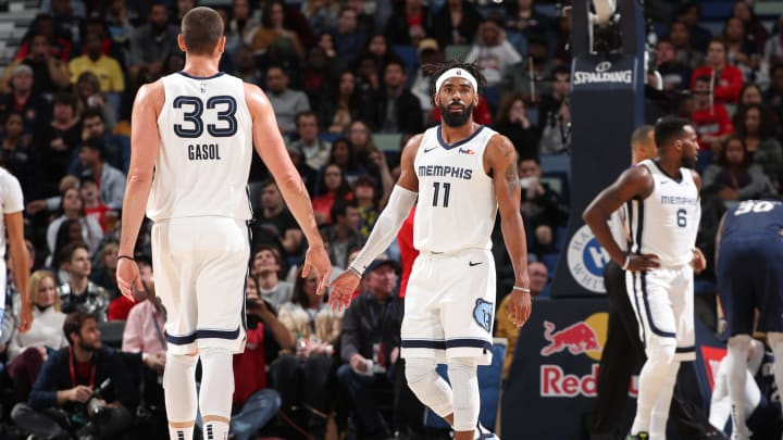 NEW ORLEANS, LA – DECEMBER 7: Marc Gasol #33 and Mike Conley #11 of the Memphis Grizzlies high five during the game against the New Orleans Pelicans on December 7, 2018 at the Smoothie King Center in New Orleans, Louisiana. (Photo by Joe Murphy/NBAE via Getty Images)