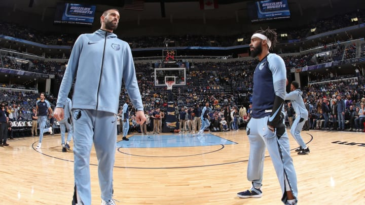 MEMPHIS, TN – NOVEMBER 27: Marc Gasol #33 and Mike Conley #11 of the Memphis Grizzlies before the game against the Los Angeles Lakers on November 27, 2018 at FedExForum in Memphis, Tennessee. (Photo by Joe Murphy/NBAE via Getty Images)