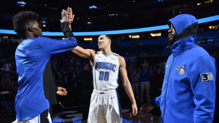 ORLANDO, FL – DECEMBER 19: Aaron Gordon #00 of the Orlando Magic smiles while being introduced prior to a game against the San Antonio Spurs on December 19, 2018 at Amway Center in Orlando, Florida. (Photo by Fernando Medina/NBAE via Getty Images)