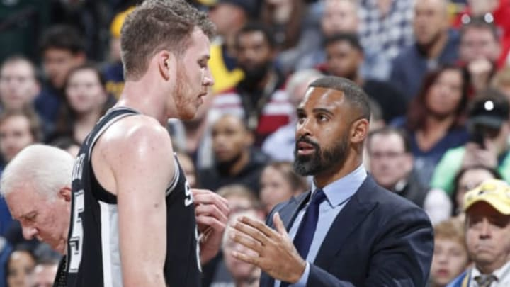 INDIANAPOLIS, IN – NOVEMBER 23: Assistant coach Ime Udoka of the San Antonio Spurs talks to Jakob Poeltl (Photo by Joe Robbins/Getty Images)
