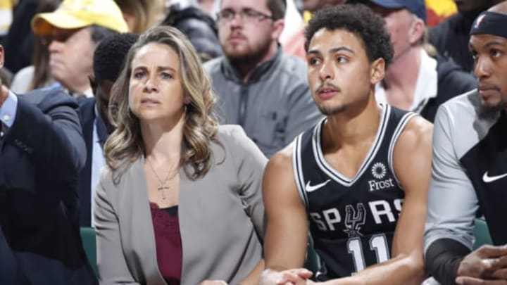 INDIANAPOLIS, IN – NOVEMBER 23: Assistant coach Becky Hammon of the San Antonio Spurs sits alongside Bryn Forbes #11 during the game against the Pacers (Photo by Joe Robbins/Getty Images)