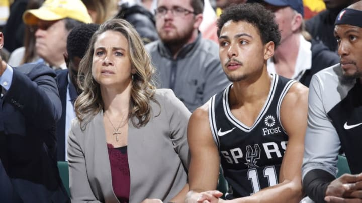 INDIANAPOLIS, IN - NOVEMBER 23: Assistant coach Becky Hammon of the San Antonio Spurs sits alongside Bryn Forbes #11 during the game against the Indiana Pacers (Photo by Joe Robbins/Getty Images)