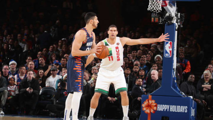 NEW YORK, NY - DECEMBER 25: Brook Lopez #11 of the Milwaukee Bucks plays defense during the game against Enes Kanter #00 of the New York Knicks on Decemeber 25, 2018 at Madison Square Garden in New York City, New York. NOTE TO USER: User expressly acknowledges and agrees that, by downloading and or using this photograph, User is consenting to the terms and conditions of the Getty Images License Agreement. Mandatory Copyright Notice: Copyright 2018 NBAE (Photo by Nathaniel S. Butler/NBAE via Getty Images)