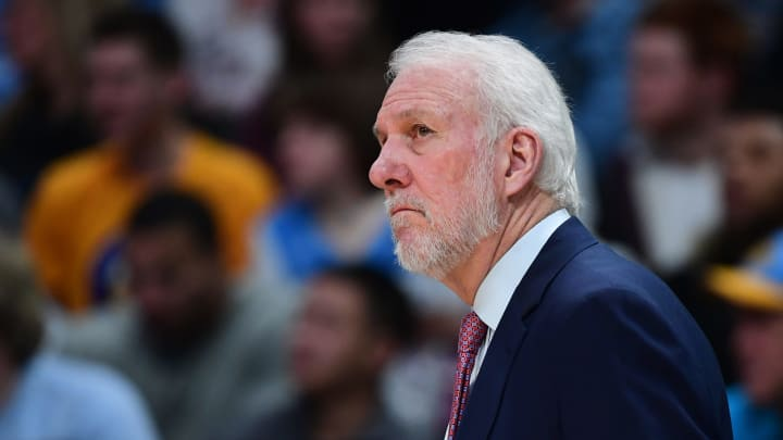 DENVER, CO – DECEMBER 28: Gregg Popovich of the San Antonio Spurs coaches from the sidelines as his team takes on the Denver Nuggets at Pepsi Center in 2018. (Photo by Justin Tafoya/Getty Images)