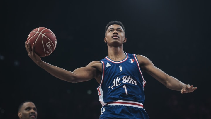 France's Theo Maledon, an NBA Draft prospect, on his way to scoring a point during an All-Star Game basketball match of the French Ligue Nationale de Basket (LNB) (LUCAS BARIOULET/AFP via Getty Images)