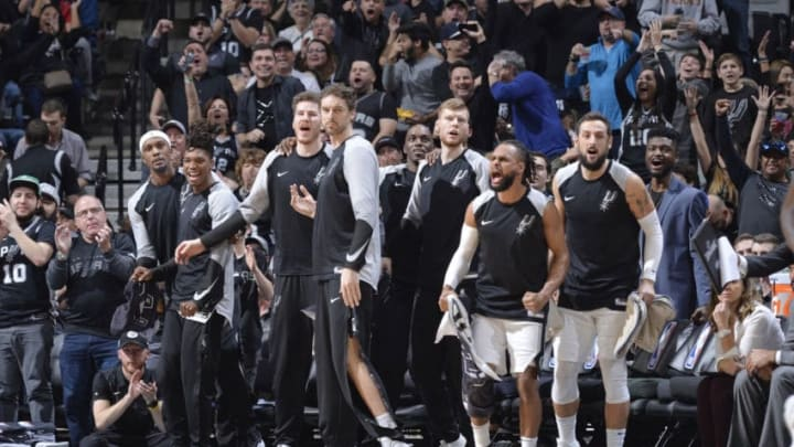SAN ANTONIO, TX - JANUARY 3: The San Antonio Spurs bench reacts during the game against the Toronto Raptors on January 3, 2019 (Photos by Mark Sobhani/NBAE via Getty Images)