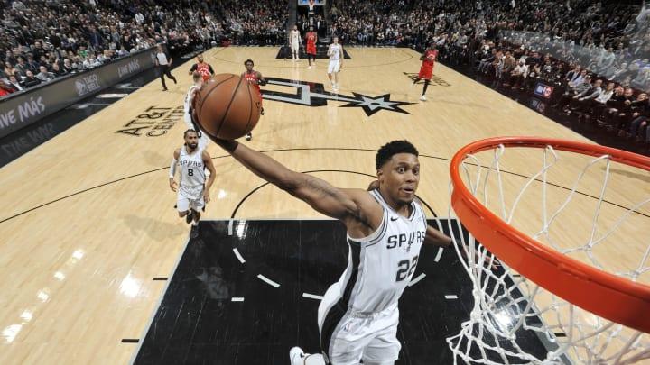 SAN ANTONIO, TX – JANUARY 3: Rudy Gay #22 of the San Antonio Spurs dunks the ball against the Toronto Raptors on January 3, 2019 at the AT&T Center in San Antonio, Texas. (Photos by Mark Sobhani/NBAE via Getty Images)
