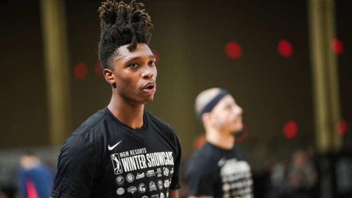 LAS VEGAS, NV - DECEMBER 19: Lonnie Walker IV #1 of the Austin Spurs warms up during the NBA G League Winter Showcase on December 19, 2018 at Mandalay Bay Events Center in Las Vegas, Nevada. NOTE TO USER: User expressly acknowledges and agrees that, by downloading and/or using this photograph, user is consenting to the terms and conditions of the Getty Images License Agreement. Mandatory Copyright Notice: Copyright 2018 NBAE (Photo by Cassy Athena/NBAE via Getty Images)